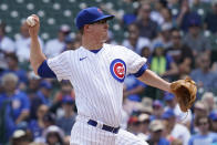 Chicago Cubs starting pitcher Alec Mills throws against the Arizona Diamondbacks during the first inning of a baseball game in Chicago, Saturday, July 24, 2021. (AP Photo/Nam Y. Huh)