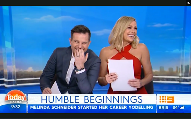 Sonia and David were in hysterics during the whole segment. Source: Nine