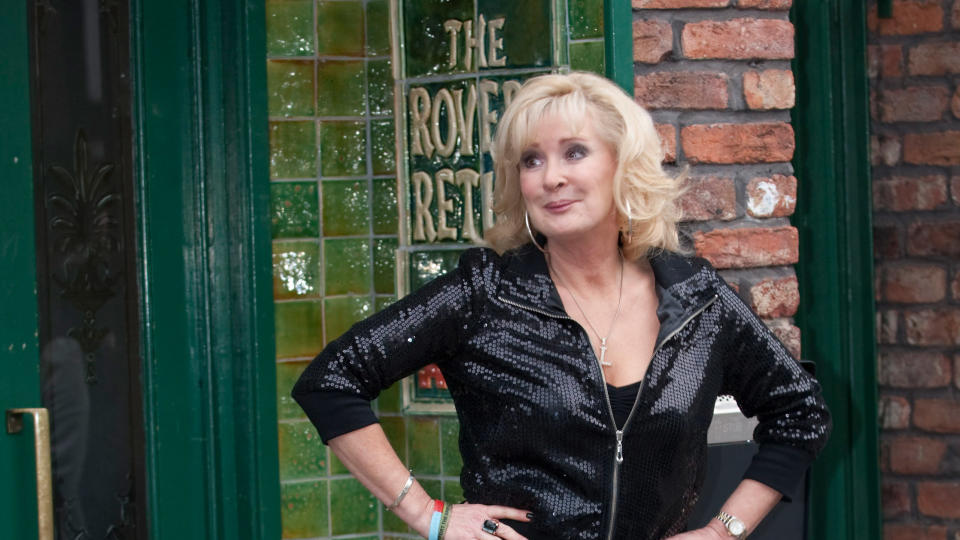 Beverley Callard on the set of 'Coronation Street'. (Photo by Mark Cuthbert/UK Press via Getty Images)