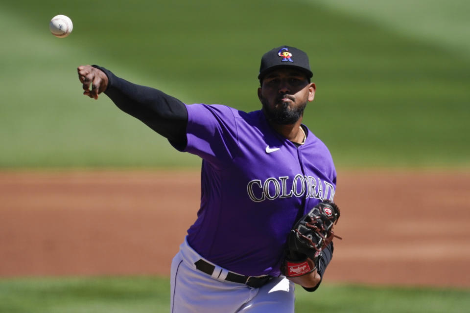 Colorado Rockies starting pitcher German Marquez (48)