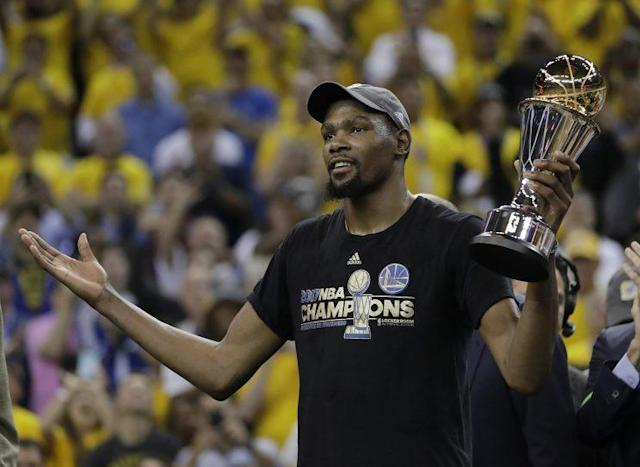 "<a class=""link rapid-noclick-resp"" href=""/nba/players/4244/"" data-ylk=""slk:Kevin Durant"">Kevin Durant</a> was superb in the NBA Finals. (AP)"