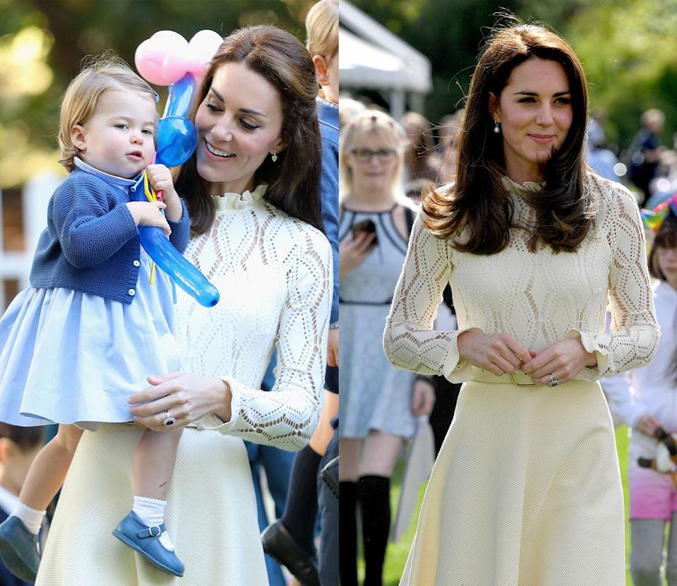 <p>This ivory See by Chloe dress with a crochet knit bodice was first worn by the Duchess of Cambridge during the royal tour of Canada in September 2016 . She wore it next to a party at Buckingham Palace to honor Armed Services members' families in May 2017. </p>