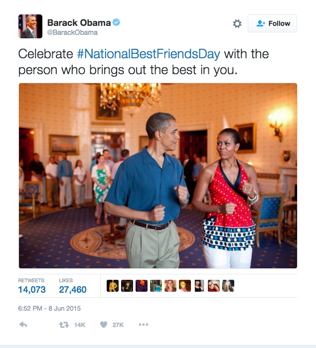 <p>When Barack celebrated National Best Friends Day by tweeting this picture of his boo. Sorry Joe Biden. [Photo: Twitter/barackobama]</p>