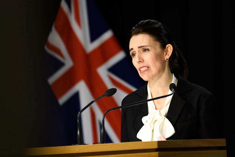 Prime Minister Jacinda Ardern speaks with media at a COVID-19 briefing on Thursday. Source: Getty