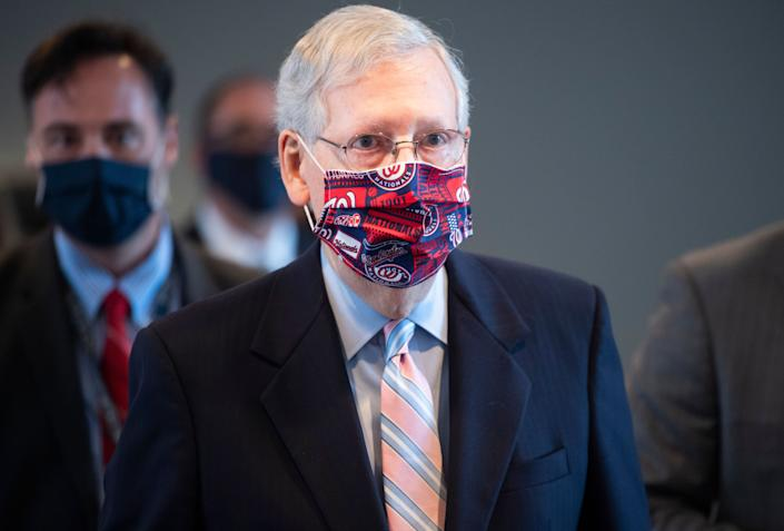 Senate Majority Leader Mitch McConnell (R-Ky.) leaves a news conference after the Senate Republican Policy luncheon in Hart Building on July 28. (Photo: Tom Williams via Getty Images)