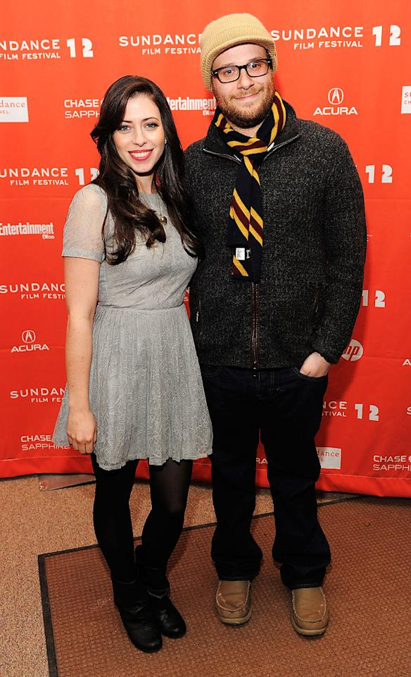 """Seth Rogen and Lauren Miller at the 2012 Sundance Film Festival premiere of """"For a Goof Time, Call ..."""" on January 22, 2012."""