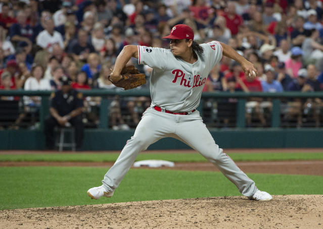 Philadelphia Phillies starting pitcher Jason Vargas delivers to Cleveland Indians' Jordan Luplow during the third inning of a baseball game in Cleveland, Saturday, Sept. 21, 2019. (AP Photo/Phil Long)