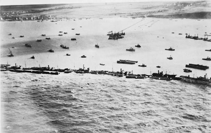 """<span class=""""caption"""">To stage their invasion of Nazi-held France, Allied forces created floating harbors in the English Channel where ships could safely dock to send soldiers and supplies ashore.</span> <span class=""""attribution""""><a class=""""link rapid-noclick-resp"""" href=""""https://commons.wikimedia.org/wiki/File:The_Mulberry_Harbour_C4846.jpg"""" rel=""""nofollow noopener"""" target=""""_blank"""" data-ylk=""""slk:Royal Air Force"""">Royal Air Force</a></span>"""