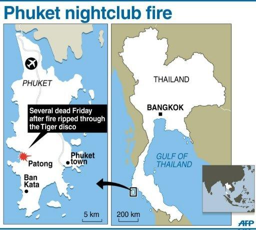 Map showing Phuket in Thailand where a fire ripped through a nightclub popular with foreign tourists early Friday, leaving at least four people dead and more than 20 others injured