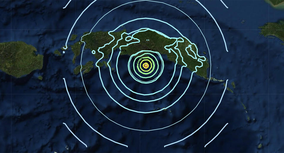 The epicentre of a 6.1-magnitude earthquake that hit Indonesia.