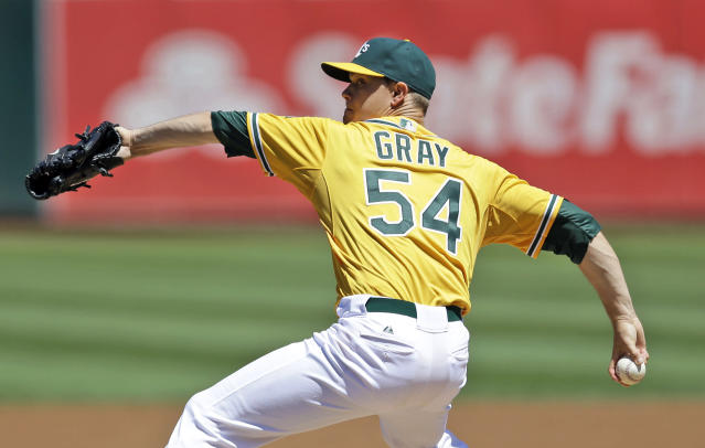 Oakland Athletics starting pitcher Sonny Gray throws to the Houston Astros during the first inning of a baseball game Thursday, Aug. 15, 2013, in Oakland, Calif. (AP Photo/Marcio Jose Sanchez)