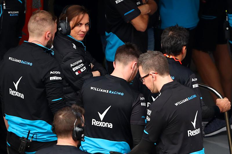 MONTMELO, SPAIN - FEBRUARY 20: Williams Deputy Team Principal Claire Williams and the Williams team congratulate each other after running their car during day three of F1 Winter Testing at Circuit de Catalunya on February 20, 2019 in Montmelo, Spain. (Photo by Dan Istitene/Getty Images)
