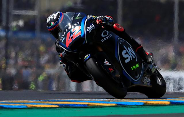 Motorcycling - Moto2 - French Grand Prix - Bugatti Circuit, Le Mans, France - May 20, 2018 SKY Racing Team VR46's Francesco Bagnaia during the race REUTERS/Gonzalo Fuentes