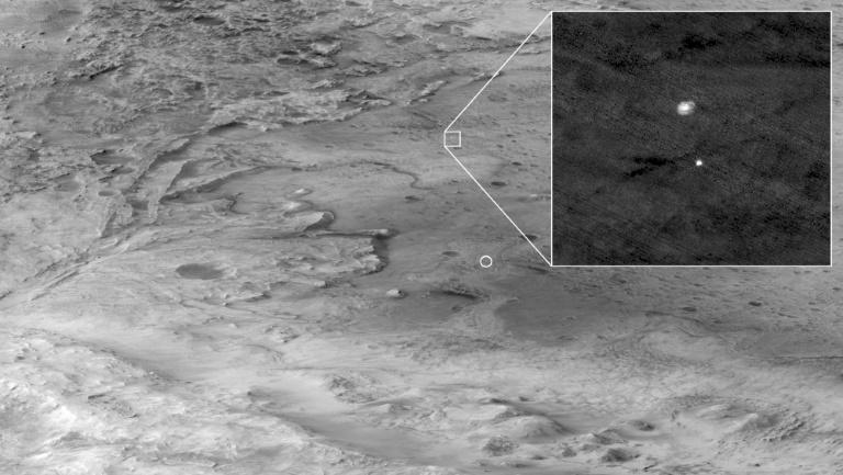Another new image, taken by the Mars Reconnaissance Orbiter, captures Perseverance as it was parachuting down through the atmosphere at hundreds of miles an hour