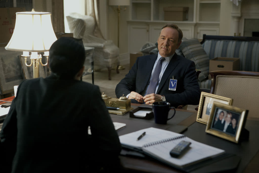 """Sakina Jaffrey and Kevin Spacey in the """"House of Cards"""" Season 1 episode, """"Chapter 2."""""""