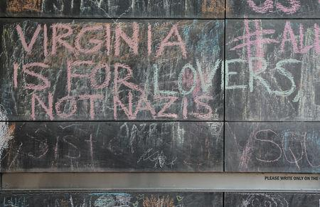 """FILE PHOTO: Messages are left on a chalkboard wall ahead of the one-year anniversary of 2017 Charlottesville """"Unite the Right"""" protests, in Charlottesville, Virginia, U.S., August 10, 2018. REUTERS/Jim Urquhart/File Photo"""