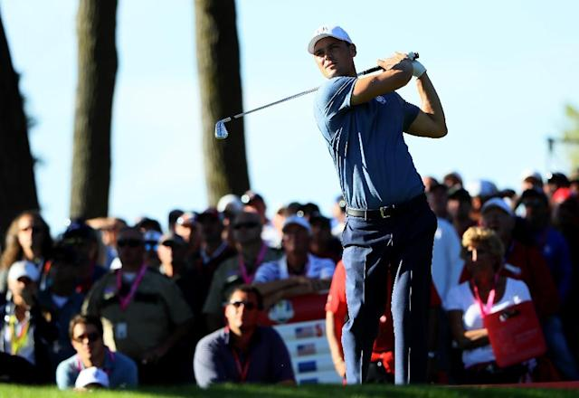 Martin Kaymer of Team Europe hits off the 13th tee during afternoon four-ball matches of the 2016 Ryder Cup, at Hazeltine National Golf Club in Chaska, Minnesota, on September 30 (AFP Photo/Andrew Redington)