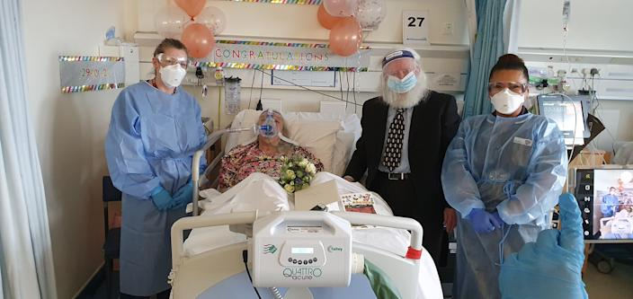 Patricia, 88, has wed her partner Phillip, 78, at Coventry's University Hospital on Friday (Hospital/Facebook)