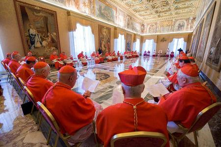 Pope Francis attends a Consistory for the causes of Saints at the Vatican April 20, 2017. Osservatore Romano/Handout via REUTERS