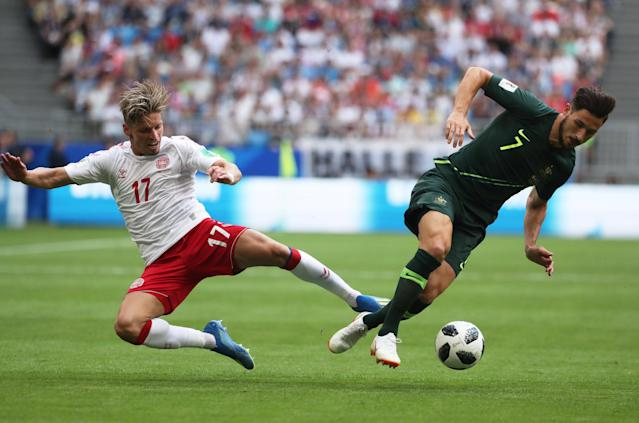 Soccer Football - World Cup - Group C - Denmark vs Australia - Samara Arena, Samara, Russia - June 21, 2018 Denmark's Jens Stryger Larsen in action with Australia's Mathew Leckie REUTERS/Pilar Olivares