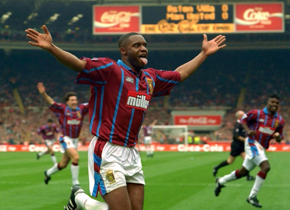 Britain Football Soccer - Aston Villa v Manchester United - Coca Cola Cup Final - 27/3/94 Aston Villa's Dalian Atkinson celebrates scoring Action Images via Reuters  EDITORIAL USE ONLY