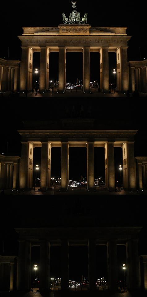 BERLIN, GERMANY - MARCH 31:  (EDITORS NOTE: Image is a digital composite.) This photo shows the Brandenburg Gate in three stages of becoming unilluminated during Earth Hour 2012 on March 31, 2012 in Berlin, Germany. According to organisers the biggest ever Earth Hour has participants including individuals, companies and landmarks in 147 countries and over 5,000 cities, agreeing to switch off their lights for one hour at 8:30pm. The Brandenburg Gate in Berlin, the Eiffel Tower in Paris, Big Ben Clock Tower in London, the Christ the Redeemer statue in Rio de Janeiro and the Empire State Building in New York are among the monuments whose operators have agreed to participate in the demonstration.  (Photo by Adam Berry/Getty Images)
