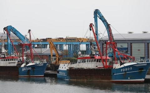 The Honeybourne 3 (right), a Scottish scallop dredger, in dock at Shoreham - Credit: Andrew Matthews/PA