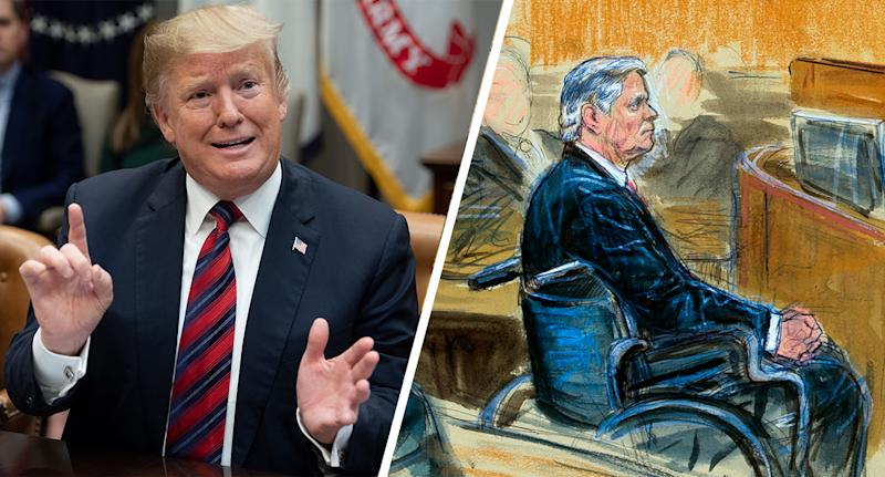 Donald Trump; a courtroom sketch of Paul Manafort