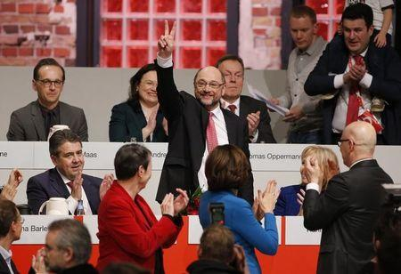 Martin Schulz reacts after he was elected new Social Democratic Party (SPD) leader during an SPD party convention in Berlin, Germany, March 19, 2017.  REUTERS/Fabrizio Bensch