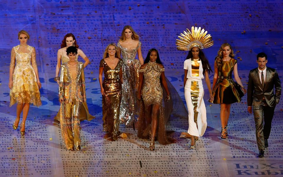 From left, Lily Cole, Karen Elson, Stella Tennant, Kate Moss, Lily Donaldson, Naomi Campbell, Jourdan Dunn, Georgia May Jagger and David Gandy during the Closing Ceremony at the 2012 Summer Olympics in London