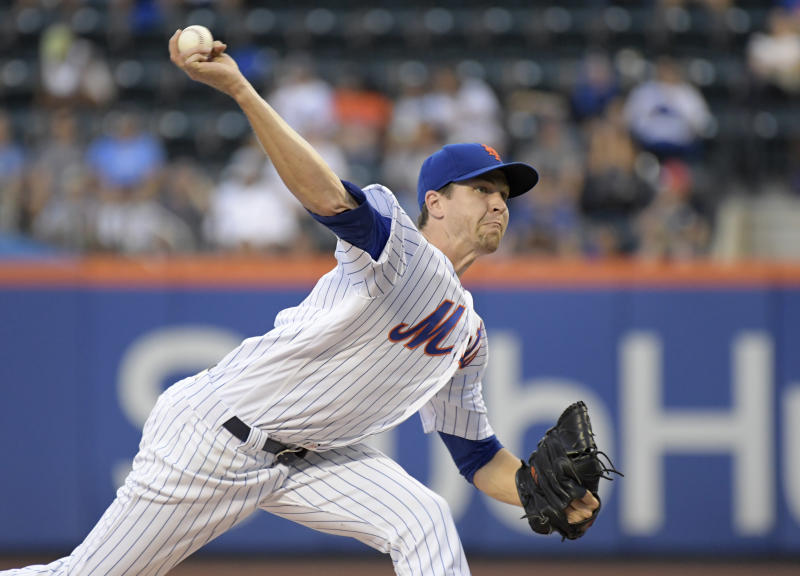 The Mets have realigned their starting rotation to allow ace Jacob deGrom to face the Yankees in Monday's makeup game. (AP)