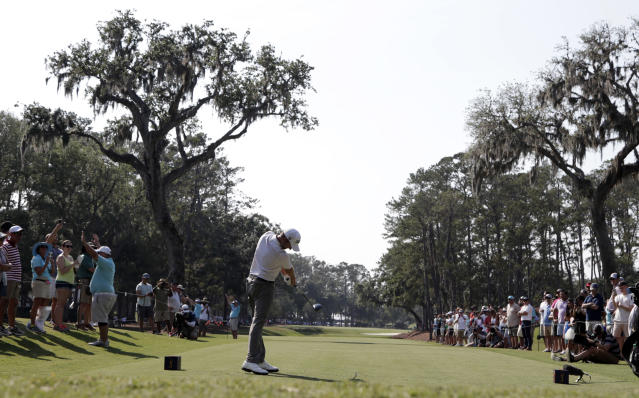Webb Simpson hits from the 15th tee during the second round of The Players Championship. (AP)