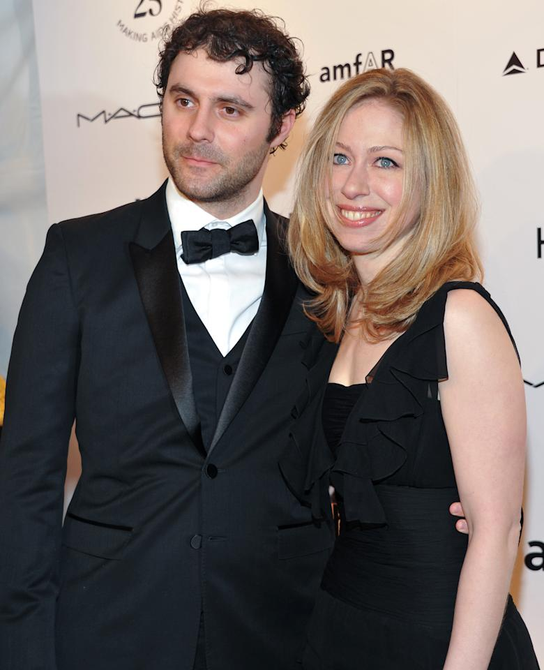 Chelsea Clinton and husband Marc Mezvinsky attend amfAR's annual New York Gala at Cipriani Wall Street on Wednesday, Feb. 9, 2011 in New York. amfAR, The Foundation for AIDS Research, is celebrating it's 25th anniversary this year.