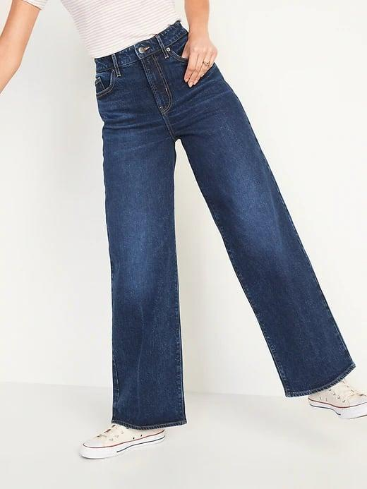 <p>Match these loose <span>Old Navy Extra High-Waisted Dark-Wash Wide-Leg Jeans</span> ($40) up with a cropped baby tee for a throwback 90's vibe.</p>