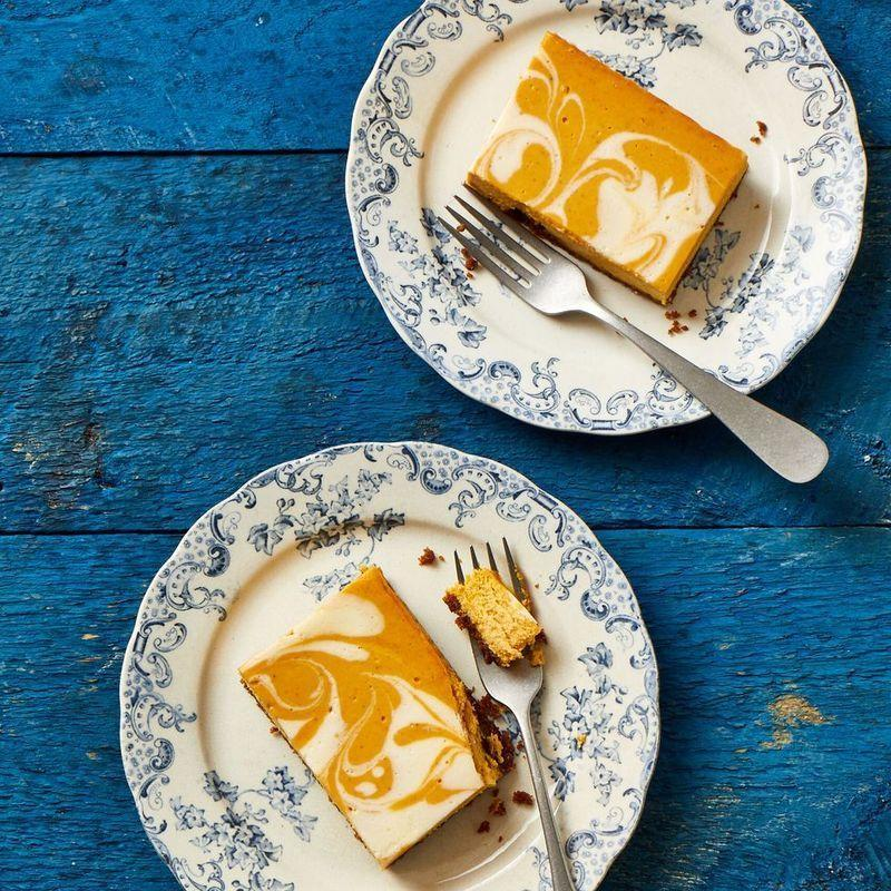 "<p>Switch up your regular pumpkin pie recipe and try delicious, swirled pumpkin cheesecake bars instead.</p><p><em><a href=""https://www.goodhousekeeping.com/food-recipes/dessert/a33809375/pumpkin-cheesecake-bar-recipe/"" rel=""nofollow noopener"" target=""_blank"" data-ylk=""slk:Get the recipe for Pumpkin Cheesecake Bars »"" class=""link rapid-noclick-resp"">Get the recipe for Pumpkin Cheesecake Bars »</a></em></p>"