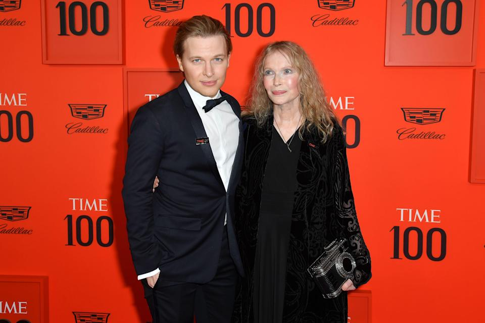 Mia Farrow and her son journalist Ronan Farrow arrive for the Time 100 Gala in New York on April 23, 2019.