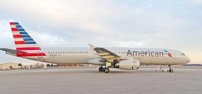 American Airlines plane on the runway.