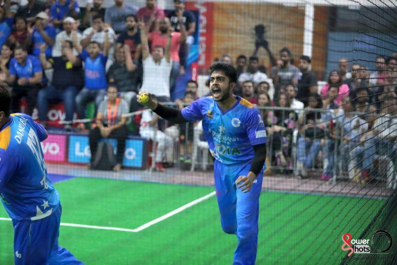 Daivik Rai celebrates at the 2017 Indoor Cricket World Cup (Image Courtesy: Powershots Photography)