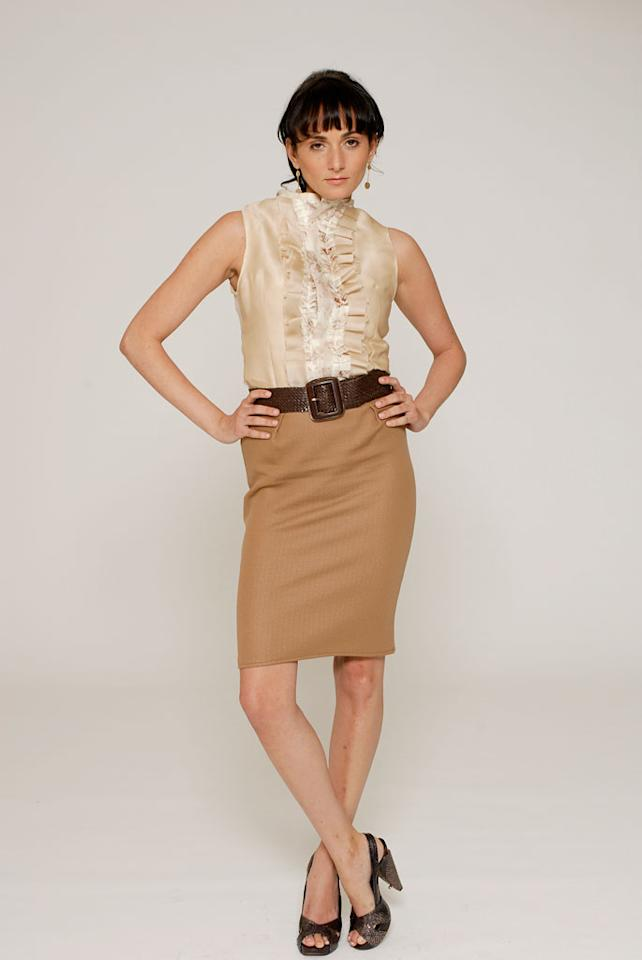 """'On Garde' design challenge on Season 4 of <a href=""""/project-runway/show/36319"""">Project Runway</a>. Lisa in the winning design by Christian and Chris."""
