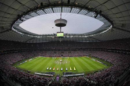 A general view of national stadium in Warsaw before the Group A Euro 2012 soccer match between Russia and Poland in this June 12, 2012 file photo. REUTERS/Leonhard Foeger/Files