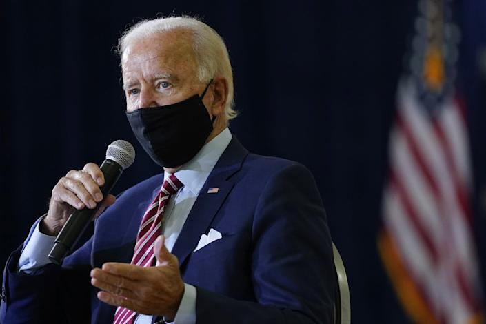 "Democratic presidential candidate Joe Biden speaks during a campaign event in Florida on Sept. 15, 2020. <span class=""copyright"">(Patrick Semansky / Associated Press)</span>"