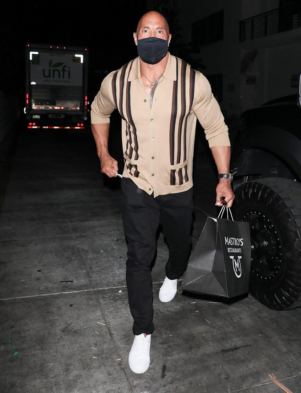 """<p>Dwayne """"The Rock"""" Johnson is seen after a night out with his wife Lauren Hashian on June 8 in Beverly Hills. </p>"""