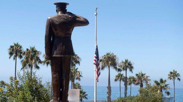 PHOTO: The U.S. flag was lowered to half-staff at Park Semper Fi in San Clemente, Calif., July 31, 2020. after one Marine from Camp Pendleton was killed and several remained missing following an accident during training off San Clemente Island. (Orange County Register via Getty Images)