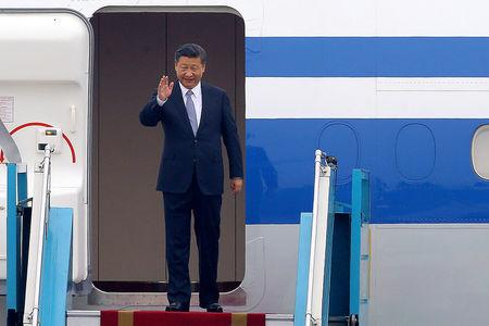 FILE PHOTO: China's President Xi Jinping arrives at the Noi Bai international airport in Hanoi
