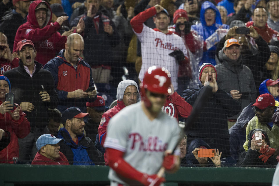 Philadelphia Phillies' Bryce Harper is booed by fans as he bats in the first inning of a baseball game against the Philadelphia Phillies at Nationals Park, Tuesday, April 2, 2019, in Washington. (AP Photo/Alex Brandon)