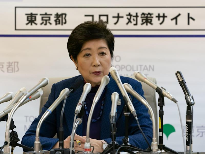 Yuriko Koike, the governor of Tokyo, warns residents about the risk of coronavirus spreading in a press conference on 25 March, 2020: Masatoshi Okauchi/Shutterstock