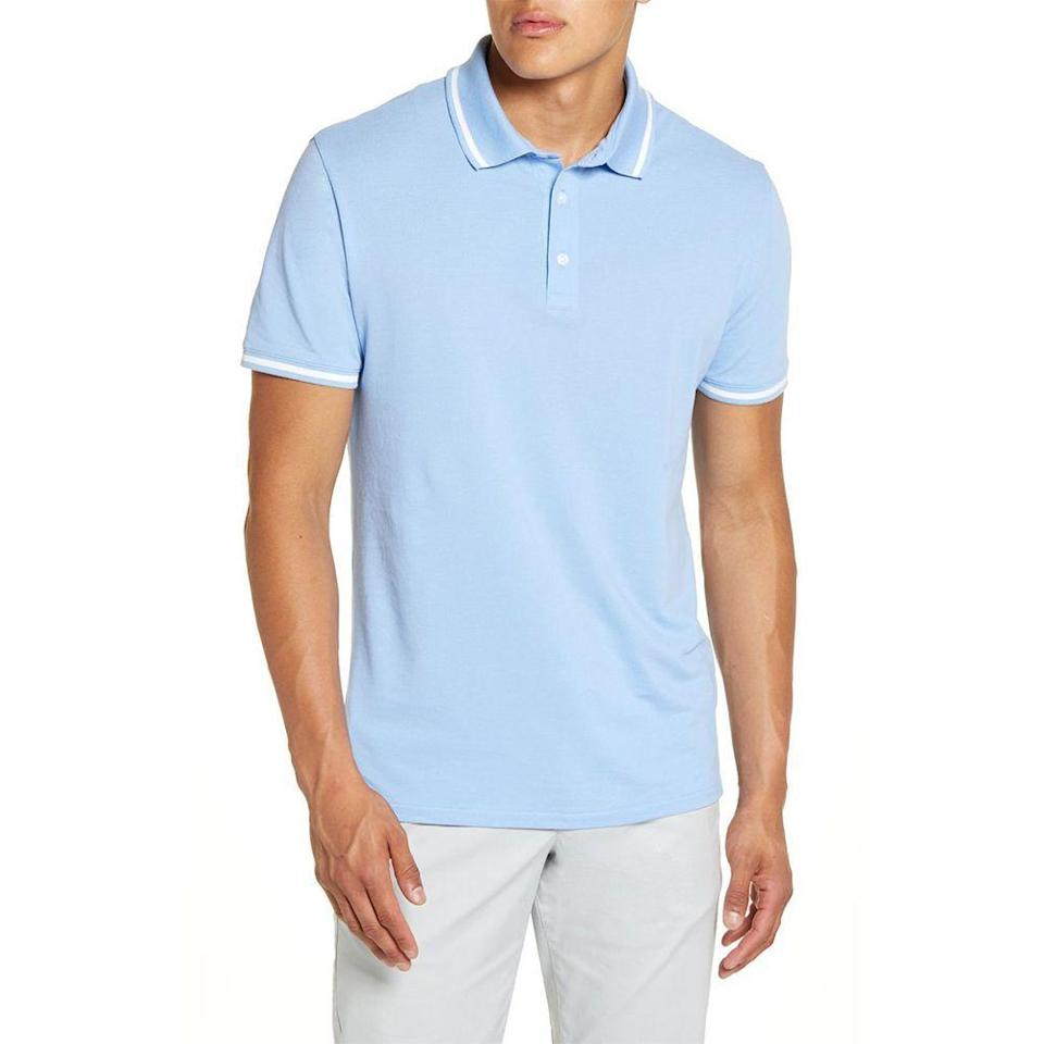 """<p><strong>BONOBOS</strong></p><p>nordstrom.com</p><p><strong>$39.90</strong></p><p><a href=""""https://go.redirectingat.com?id=74968X1596630&url=https%3A%2F%2Fwww.nordstrom.com%2Fs%2Fbonobos-superfine-slim-fit-cotton-pique-polo%2F5602601&sref=https%3A%2F%2Fwww.menshealth.com%2Fstyle%2Fg33510339%2Fnordstrom-anniversary-sale-2020%2F"""" rel=""""nofollow noopener"""" target=""""_blank"""" data-ylk=""""slk:Shop Now"""" class=""""link rapid-noclick-resp"""">Shop Now</a></p><p><strong><del>$68</del> $39.90 (42% off) </strong></p><p>Bonobos' elevated polo will trick your colleagues into thinking you actually got dressed before dialing into your Zoom call. (Little do they know, you can stealthily pair this option with sweats.)</p>"""