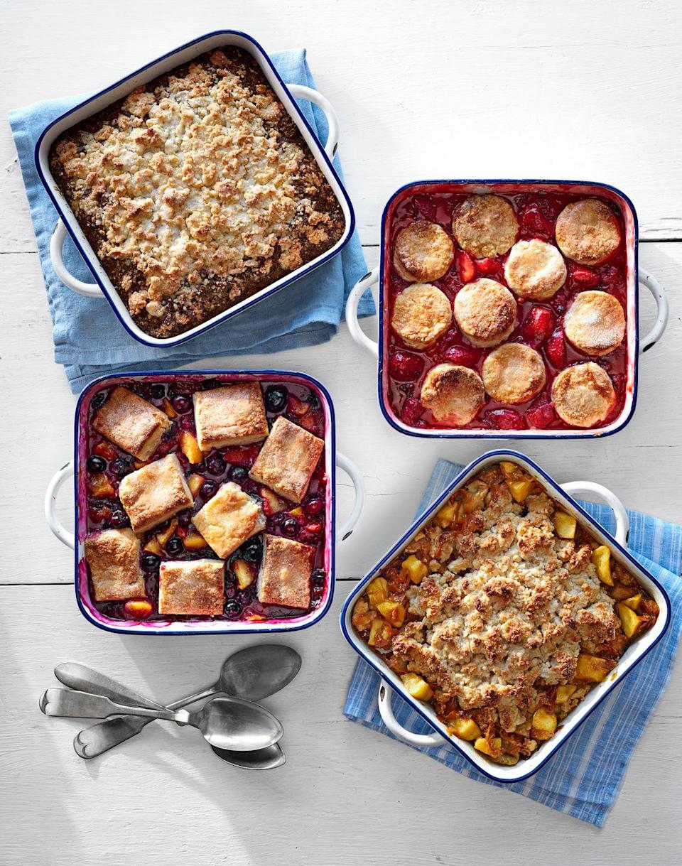 """<p>The secret to this über-easy cobbler? A sweet, biscuit-y crust.</p><p><strong><a href=""""https://www.countryliving.com/food-drinks/recipes/a37301/minted-strawberry-rhubarb-cobbler/"""" rel=""""nofollow noopener"""" target=""""_blank"""" data-ylk=""""slk:Get the recipe"""" class=""""link rapid-noclick-resp"""">Get the recipe</a>.</strong></p><p><strong><a class=""""link rapid-noclick-resp"""" href=""""https://www.amazon.com/Wilton-Perfect-Results-Premium-Non-Stick/dp/B07328J6QJ/?tag=syn-yahoo-20&ascsubtag=%5Bartid%7C10050.g.32771294%5Bsrc%7Cyahoo-us"""" rel=""""nofollow noopener"""" target=""""_blank"""" data-ylk=""""slk:SHOP BAKING PANS"""">SHOP BAKING PANS</a></strong></p>"""