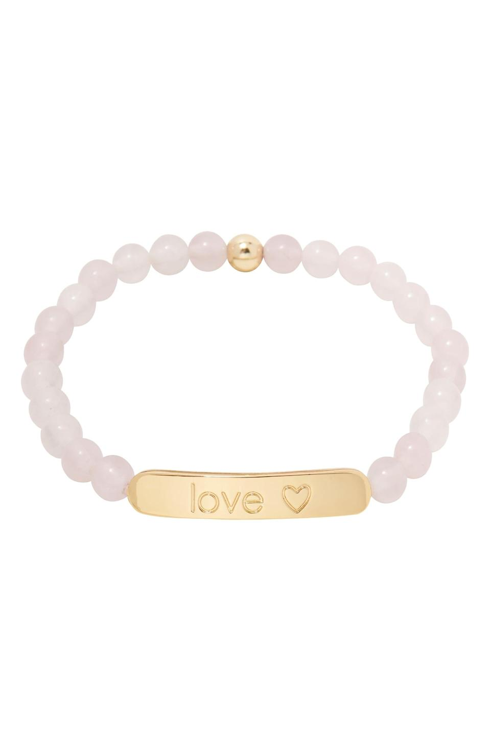 <p><span>Gorjana Power Gemstone Tag Rose Quartz Bracelet</span> ($19, originally $48)</p>