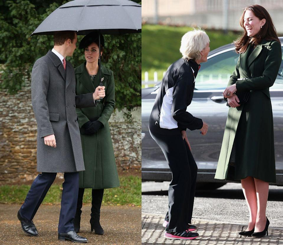 <p>The Duchess of Cambridge donned a hunter green Max Mara midi-length coat to attend Christmas Services in Sandringham in December 2015. She later wore it to visit Edinburgh in February 2016. </p>